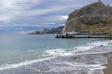 Bay resort town of Sudak on a cloudy September day. Crimea.