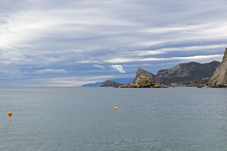 Seascape. Crimea, September, cloudy day. Stok Fotoğraf