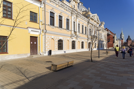Tula, Russia - April 24, 2019: Metallistov street - a  pedestrian street in the downtown of Tula, Russia. End of April. Bright sunny day.