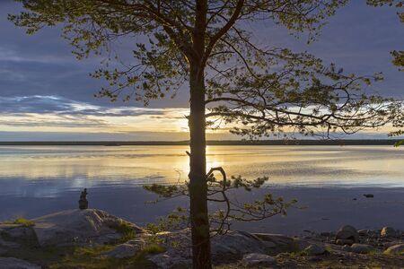 Evening on the White Sea. The sun shines through the clouds. Kandalaksha Gulf, Karelia, Russia, end of June. Standard-Bild