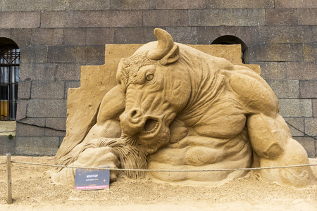 Saint Petersburg, Russia - June 13, 2019: The exhibition of sand sculptures at the Peter and Paul Fortress. Composition Minotaur by Andrey Vazhinsky from Kharkov, Ukraine.