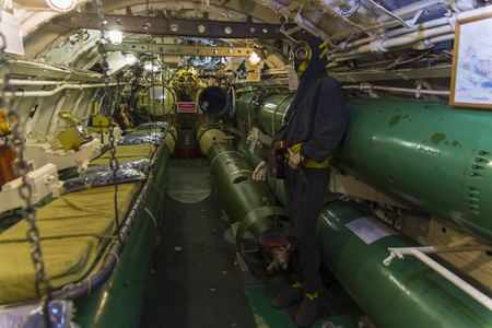 Saint Petersburg, Russia - June 12, 2019: Inside the museum old Soviet submarine. Bow compartment with torpedo tubes and spare torpedoes. 新聞圖片
