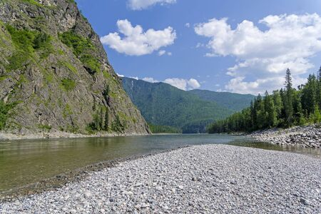 The Oka Sayan River at the end of the Orkho-Bom gorge. East Sayan, Buryatia, Siberia, Russia.