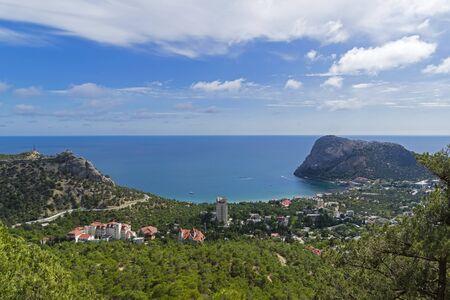 Crimea. Aerial view of the resort village of Novyy Svet and Novosvet Bay. Sunny day in September.