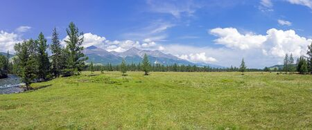 Panorama of a mountain valley. East Sayan, Buryatia, Siberia, Russia.