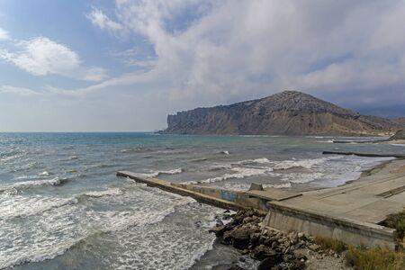 View of Cape Alchak from Kapsel Bay. Crimea, September.