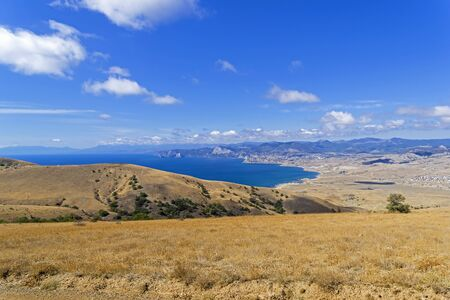 View of Kapsel bay and Kapel area from the slope of Cape Meganom. Crimea, a sunny day in September.