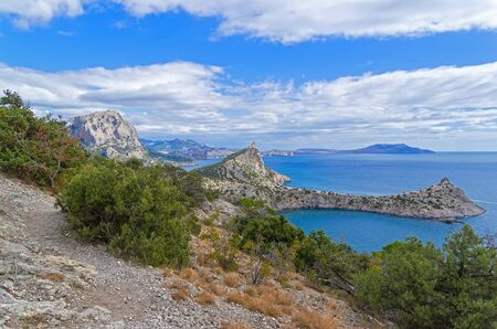 Mountains on the Black Sea. Neighborhood of the village of Novyy Svet. Crimea. Sunny day in September.