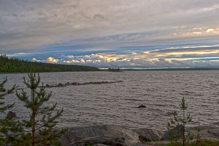 Evening on the White Sea. Karelia, Russia, end of June.