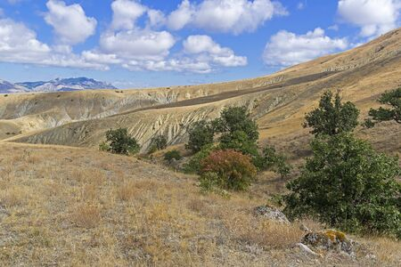 Clay ravines with traces of soil erosion and weathering at the foot of Cape Meganom. Crimea, a sunny day in September.