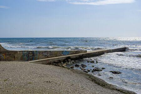 Off-season. Empty beach in Kapsel Bay. Crimea, a sunny day in September.