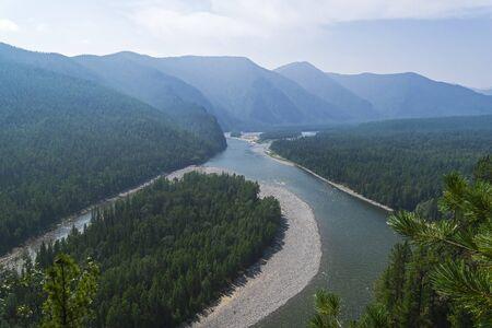 Aerial view to the valley of the Sayan Oka river. East Sayan, Buryatia, Siberia, Russia.