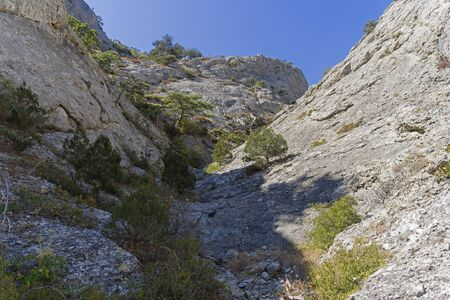 The narrow rocky gorge in the Crimean mountains. Riverbed pierced in the stone by rain and melt water. 版權商用圖片