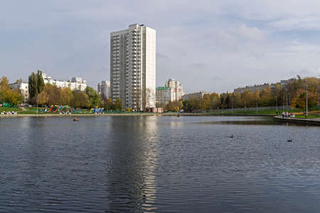 Big Konkovsky pond. South-Western Administrative District of Moscow, Russia. Cloudy day in October.