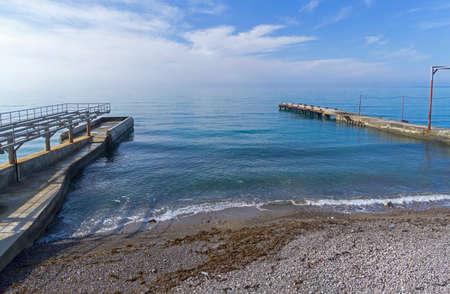 Empty beach. Off season. Sunny morning, end of April, Crimea.