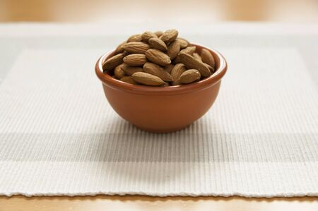 Close up view of organic Almonds in a bowl