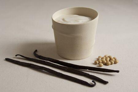 Close-up view of organic Vanilla Soy Yogurt