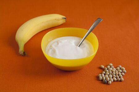 Close-up view of organic Banana Soy Yogurt