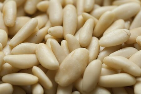 Close-up view of texture of organic Pine Nuts Stock Photo