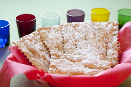 chiacchiere: Close-up view of Chiacchiere, traditional italian Mardi Gras fritters Stock Photo