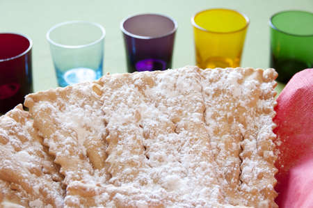 Close-up view of Chiacchiere, traditional italian Mardi Gras fritters Stock Photo - 17824866