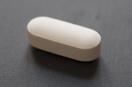 Close-up vista de Glutamina Tablet suplemento diet�tico Banco de Imagens