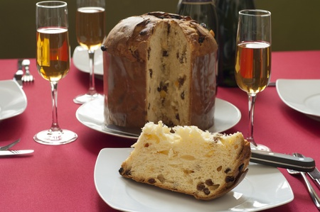Close-up view of Panettone, Italian traditional christmas cake from Milan