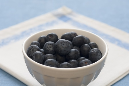 Close-up view of Italian organic blueberries in a bowl