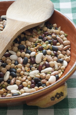 Close-up view of mixed legumes  Beans, Peas, Chickpeas, Lentils