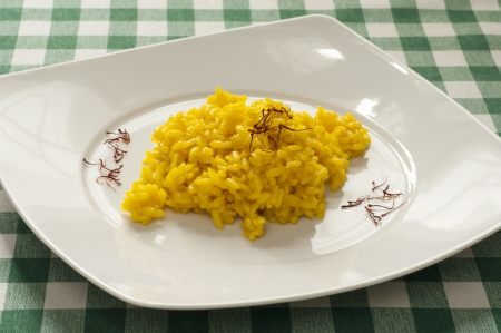 Close-up view of typical homemade Italian Milanese Risotto