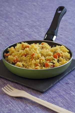 Close-up view of organic Couscous Stock Photo
