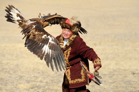 nomadism: Kosh-Agach,Russia - September 21, 2014: the hunter with an eagle at the festival: Berkut-wing Chu steppe