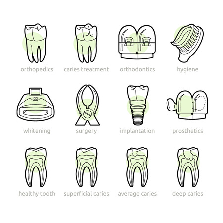 Basic services of the dental clinic in the icons