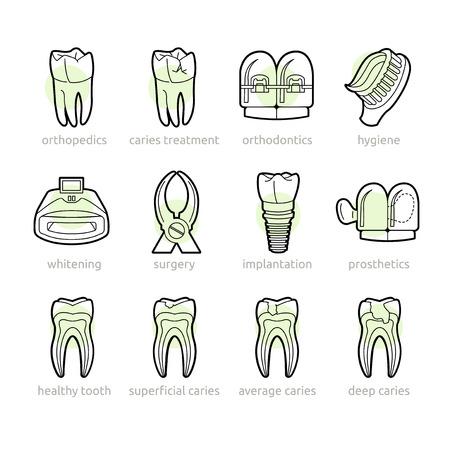 Basisdiensten van de tandheelkundige kliniek in de iconen Stock Illustratie