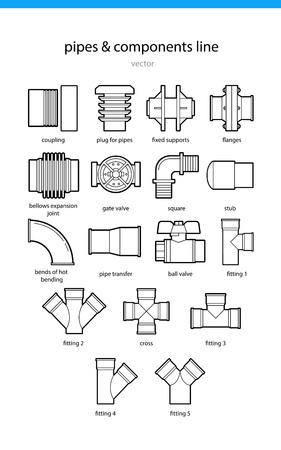 pezones: Conjunto de iconos de tuberías y componentes de línea ilustración vectorial