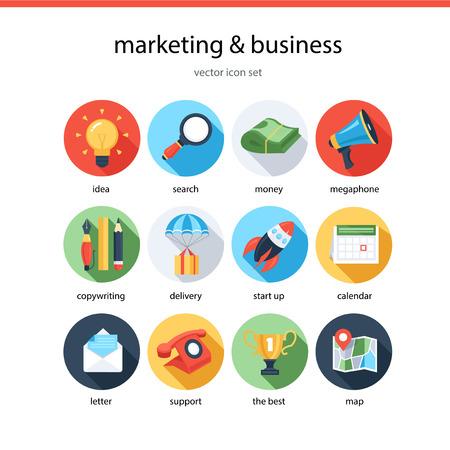 Jeu d'icônes marketing et affaires