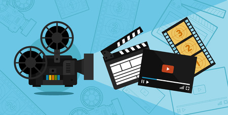 Cinema shooting and video vector illustration of a flat Illustration