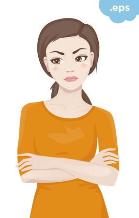 Une jeune femme offensée croisa les bras. Une fille debout dans un pull orange avec ses bras croisés sur sa poitrine.