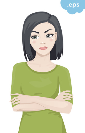 An angry young woman crossed her arms. The girl is standing in a green sweater with her arms crossed over his chest. Illustration