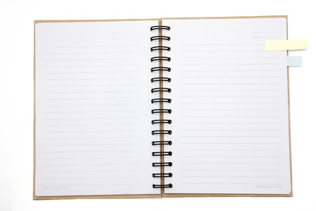Recycled paper notebook cover open with reminder in isolated photo