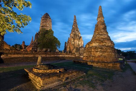 Wat Chai Watthanaram in Ayutthaya night shot, Thailand