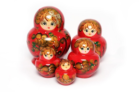 matroshka: Group russian doll on white background.
