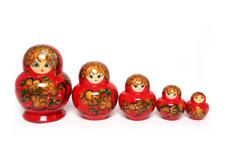 matriosca: Group russian doll on white background.