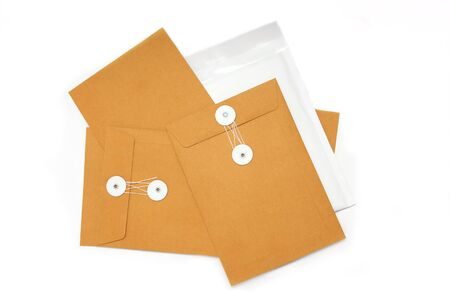 Blank business brown paper envelope on isolated 스톡 사진