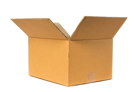 Open cardboard box container deliver and moving in isolated Stock Photo