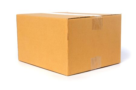 Cardboard box container deliver and moving in isolated photo