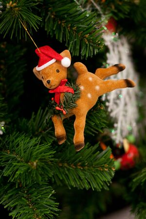 Reindeer christmas ornament decoration in tree Stock Photo - 8423602