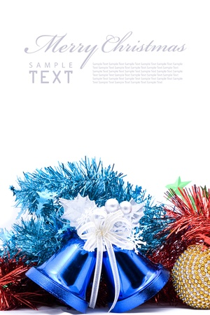 Blue christmas bell and silver bow ribon on white background with copy space photo
