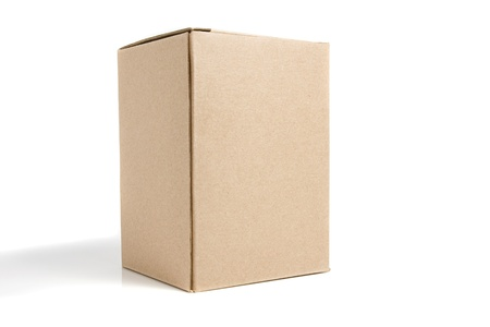 Cardboard box on a white background close up Stock Photo