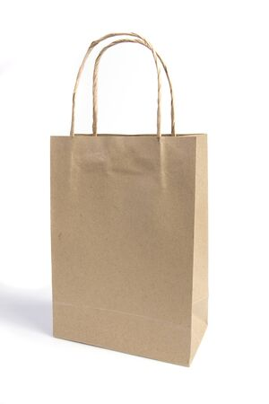 Recycle brown paper bag on white isolated photo